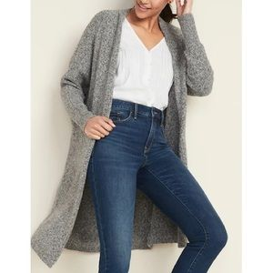 OLD NAVY Long Grey Chunky Knit Sweater Cardigan